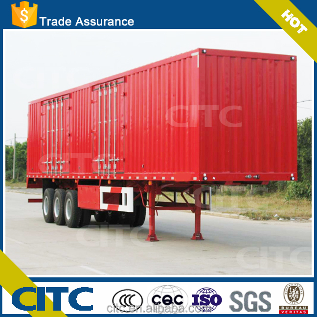 CITC cargo box truck trailer, 3 axle dry van semi trailer made of carbon steel or aluminum alloy