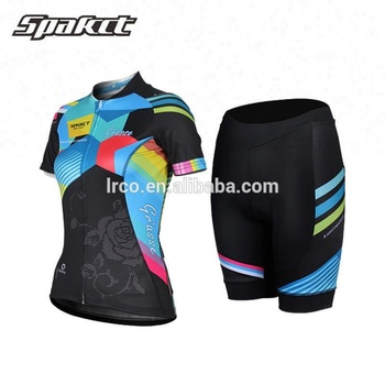 Spakct women cycling jersey short sleeve and short pant sublimation ciclismo clothing