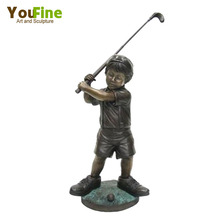 Bronze Boy playing Golf Statue For Sale