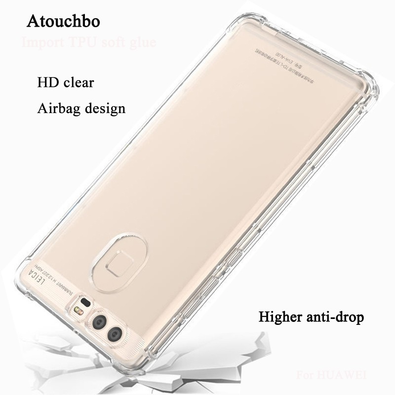 AtouchboTransparent Clear TPU PC Cellphone Cover Case For Huawei P9