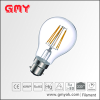 6W A60 Led filament lamp B22 glass clear top quality available in warm light&cool light