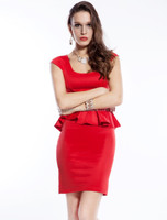 Vintage style one-piece design dress for ladies office formal wear