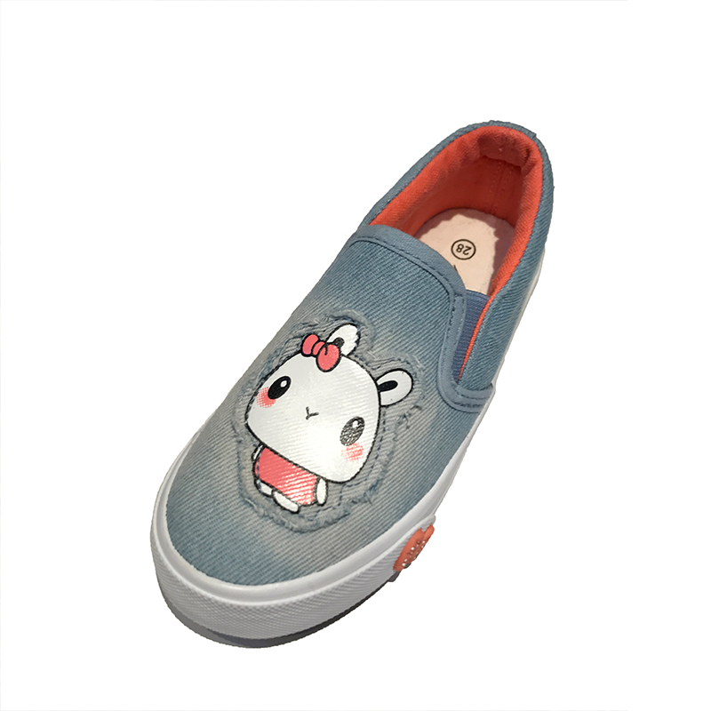 2017 lovely rabbit printed children slip-on shoes outdoor lazy leisure canvas shoes for girls