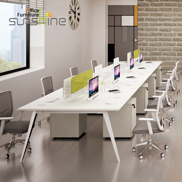 Top Quality High End Modern Office Furniture Staff Room 8 Person Use Metal Frame Face to Face Workstation