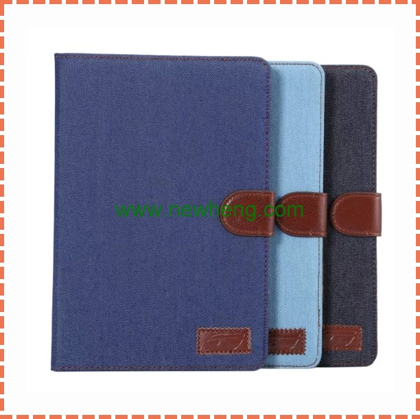 High Quality Cowboy Style Jeans stand flip Leather Case For Ipad Mini 4