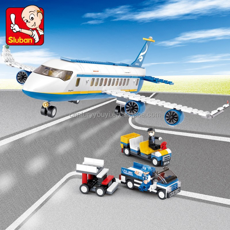 2016 Hottest toys for kids sluban plastic building block toys abs plastic of aviation airport play set helicopter