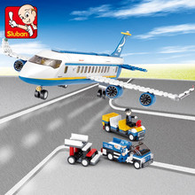 Hot selling sluban plastic bricks popular toys for kid of aviation airport play set helicopter