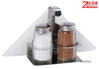 Salt and pepper set with shelf and napkin holder