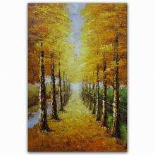 large handmade most beautiful natural autumnal scenery oil painting on canvas wall art for bedroom