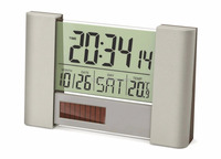 Fupu Newest Fashionale Metal Solar Dual Powered Weather Station clock