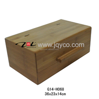 factory price bamboo multipurpose food storage box, bread bin wholesale with LFGB/FDA certificate