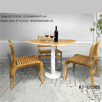 Classical natural bamboo table and chair for outdoor
