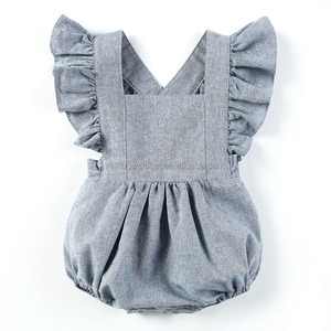Unique Baby Clothes Solid Color Flutter Sleeve Newborn Baby Linen Romper