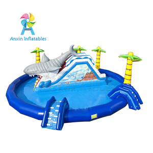 Factory price lovely elephant inflatable water slide with swimming pool for sale