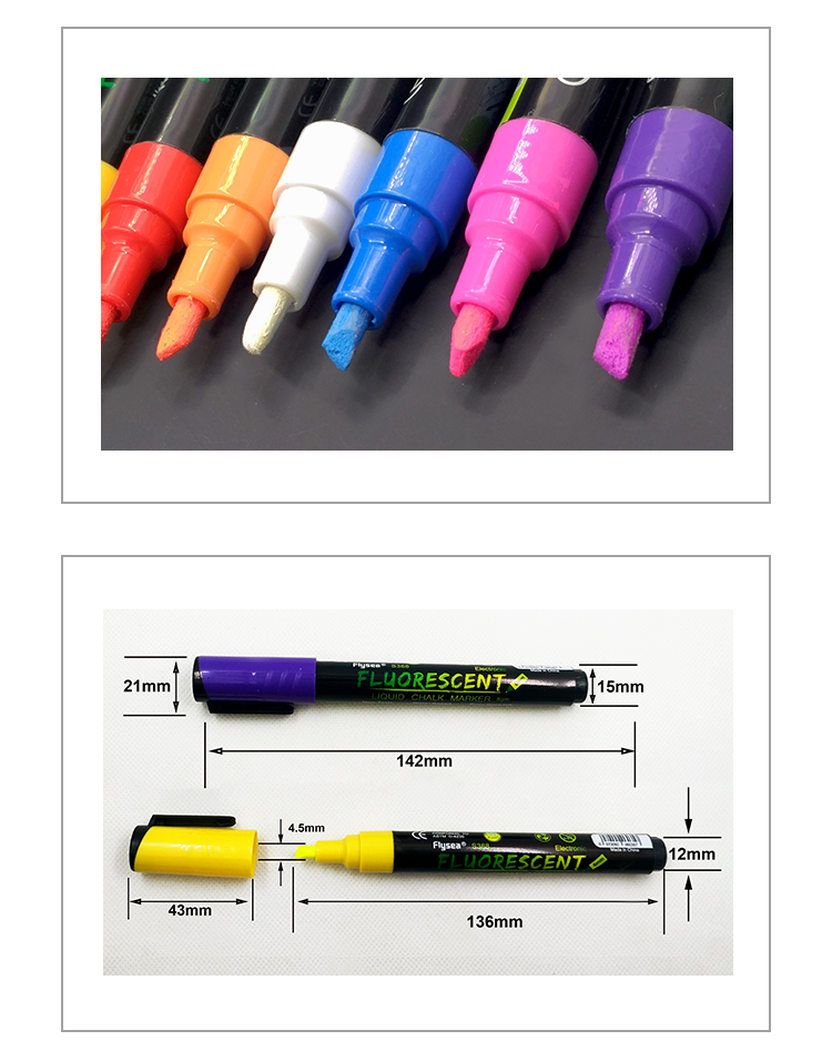 Liquid Neon Pens Reversible Bullet Glass Window Labels Erasable Chalk Markers