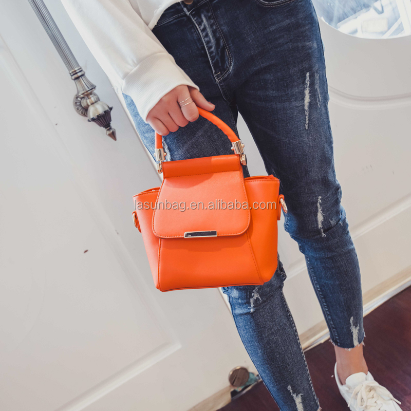 Fashion <strong>Orange</strong> Colors Office Ladies Small Shoulder Bag Girls Leather Handbags Factory Sale