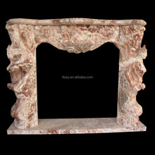 red color stone fireplace mantel