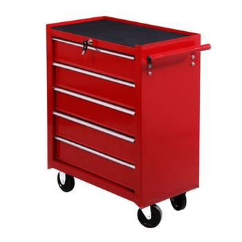 5 Drawer Steel Rolling Tool Cabinet Wheeled Storage Cart Box