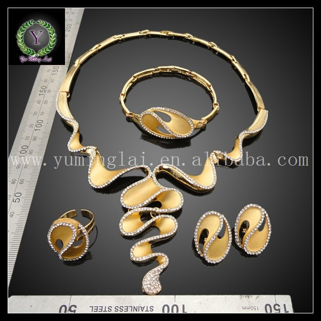New product fashion luxury jewelry set gold plated bridal jewelry set FHK1422