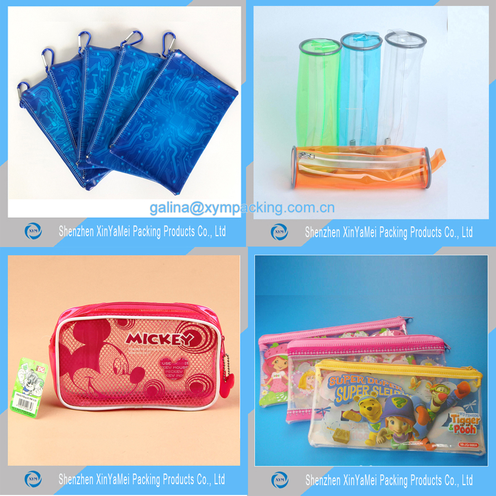 Wholesale transparent zipper custom design plastic pvc large cute pencil case