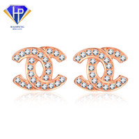 AT0088 au 750 rose gold jewellery 18k rose gold diamond earrings