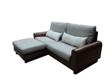 Latest design half leather half cheap corner fabric sofa