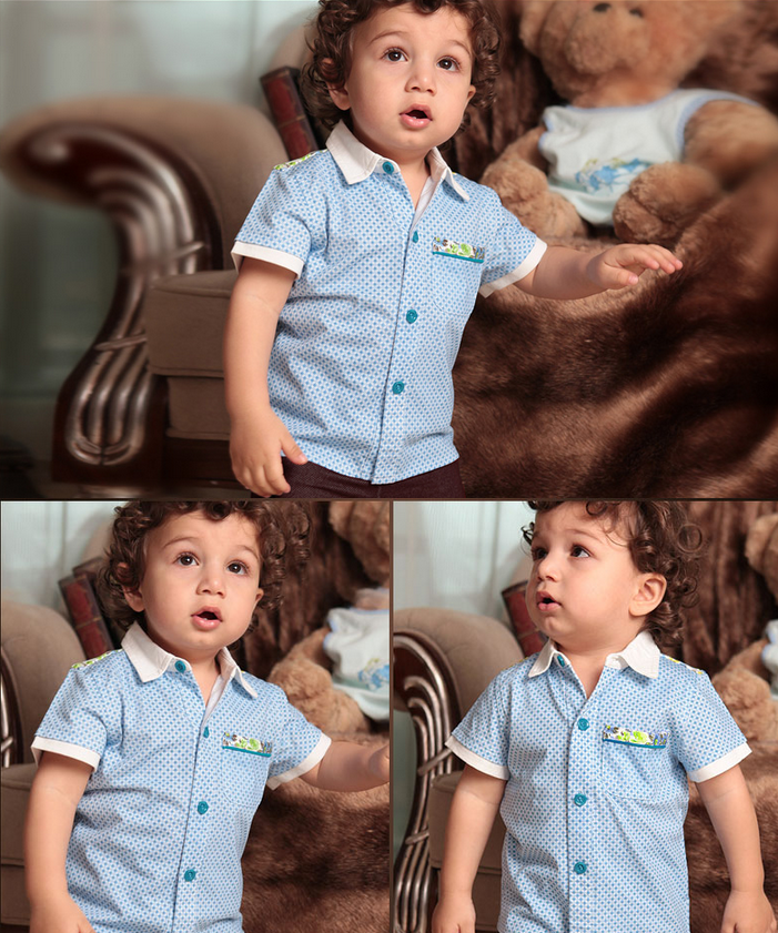 Boys short-sleeved shirt summer baby suit children cotton shorts baby shirt