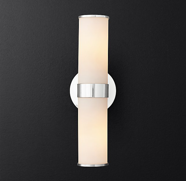 Vintage Indoor Wall Bracket Lamp Fitting Industrial Cylindrical Opaque Glass Shade LED Wall Double Sconce Up And Down Wall Light