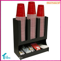 Warehouse Advertising Hot Sale Black Coffee Cup Holder Plastic Counter Paper Cup Rack Acrylic Coffee Display Rack