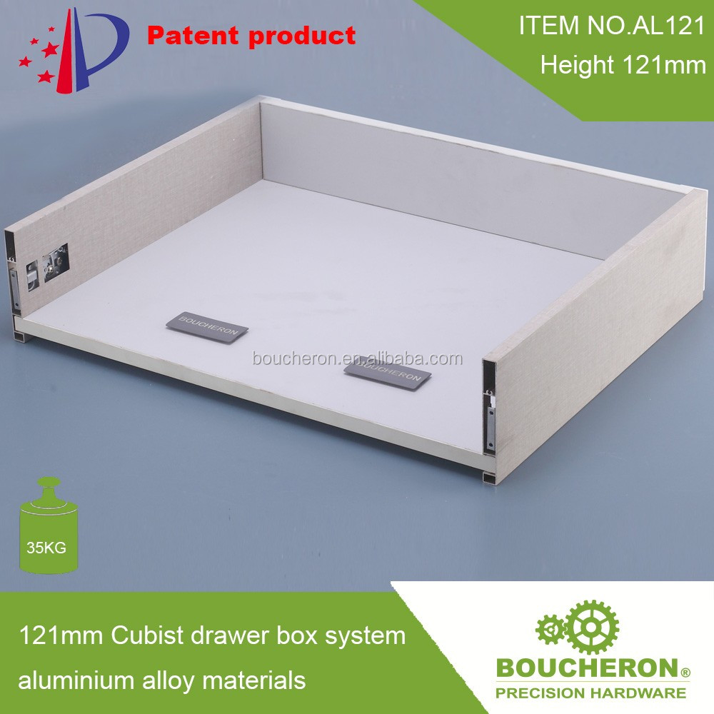 121mm thin tandem box / drawer box system with AS3116 soft close drawer slide /metal kitchen cabinets hardware hot sale