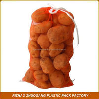 Wholesale PE drawstring mesh produce bag packing vegetables and fruits