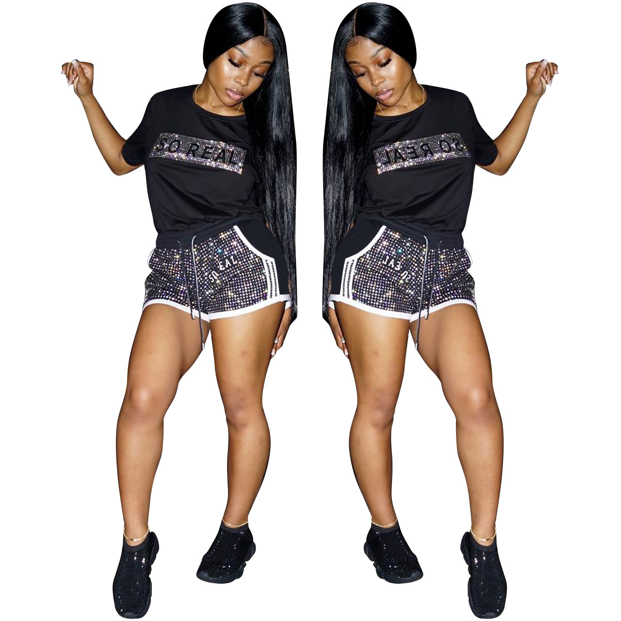 New Design Trendy Hot drilling Fitness Crop Top And Shorts Two Piece Set Women Gym Sport Clothing Summer