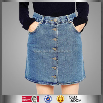 Wholesale Products Dongguan Factory Denim Dolly Button Through Skirt In Mid Wash Europe Blue Slim Fit Denim Skirt