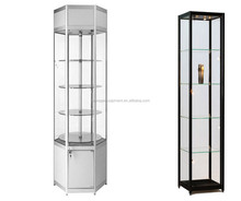 glass cabinet display for boutique with storage cabinet