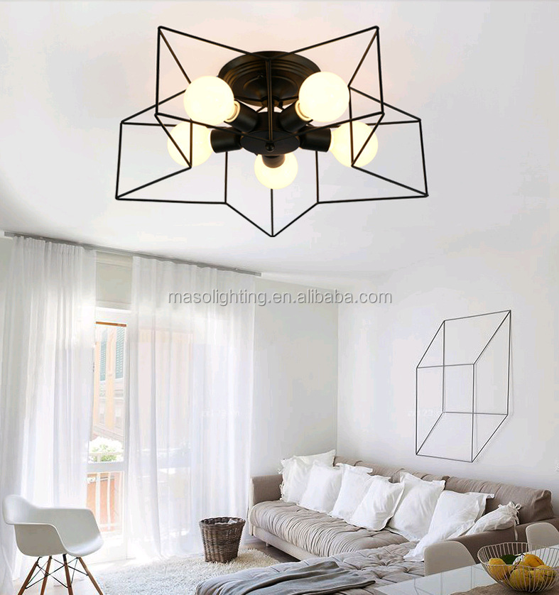 Modern ceiling light wrought iron star E27 ceiling pendant lighting children room LED star ceiling light