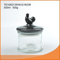 500ml glass storage jar with ceramic chicken lid