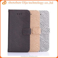 Olja zebra pattern flip wallet case for apple iphone, factory price for iphone 6 plus wallet