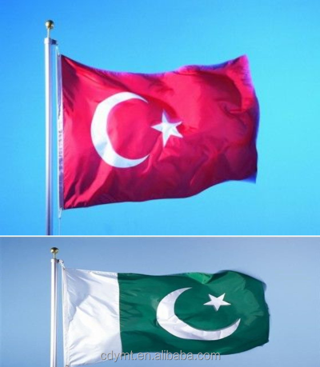DMT AD printing company custom all kinds of national Pakistan Turkey country flags Pakistan Turkey