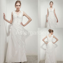 astergarden new style A-line V-neck floor-length rushed taffeta beading evening dresses with hand flower long prom gowns