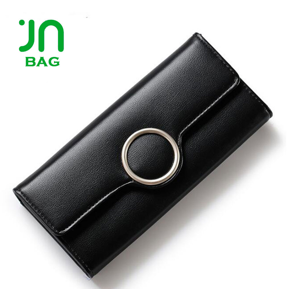JIANUO Magic wallet ladies black zip wallet women's vintage wallets purse