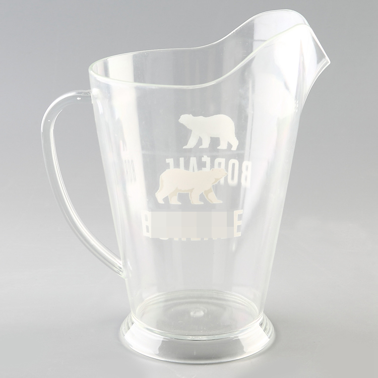 Customized logo printing Transparent Water Joice Jug plastic Beer Pitcher