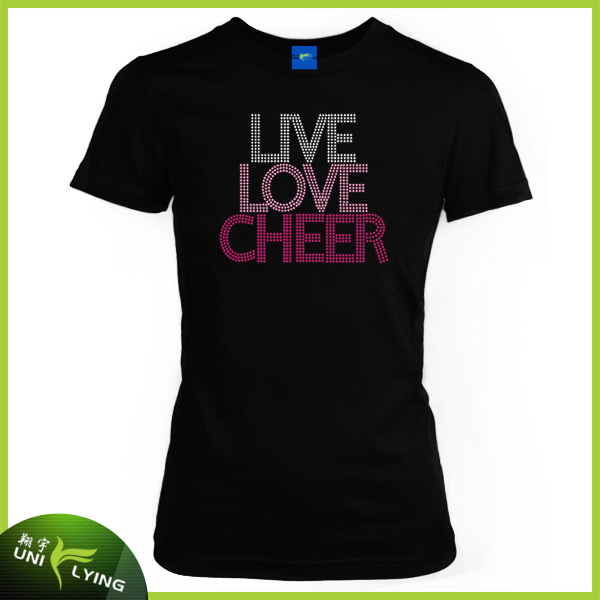 Iron On Live Love Cheer Custom Letter Sticks Rhinestone Heat Transfer For T-shirts