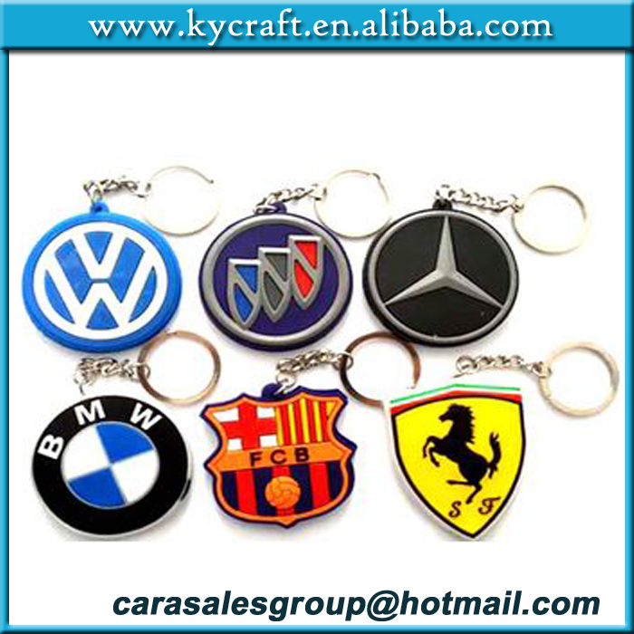 Manufacturers selling custom made rubber Keychain cheap Car logo PVC Keychain