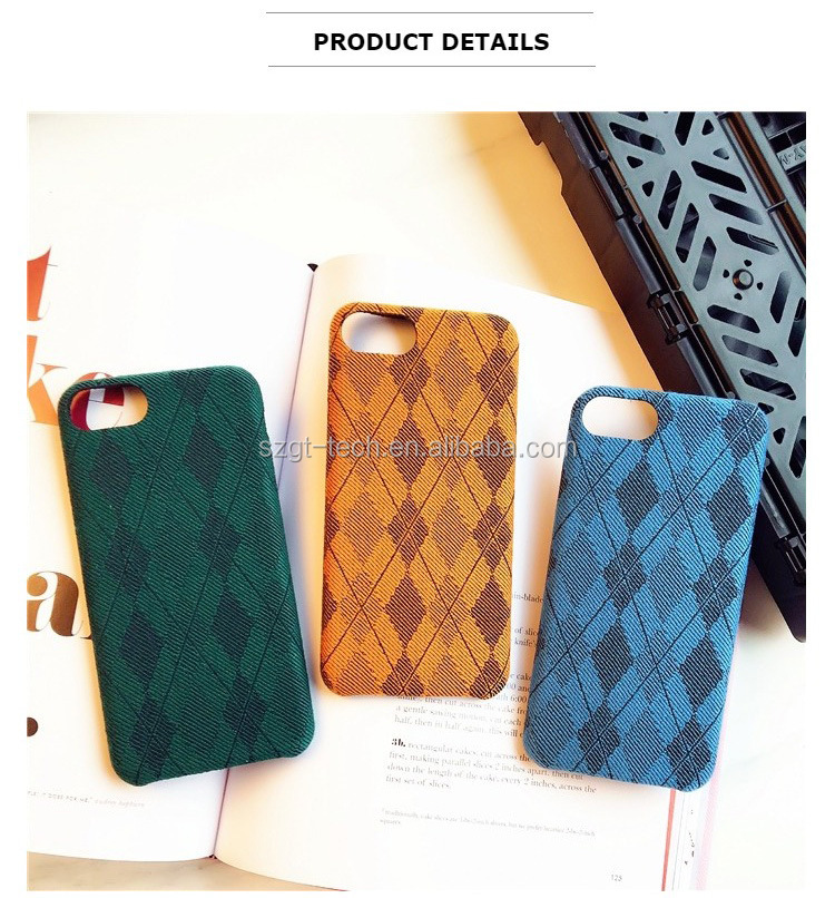 Mobile accessories grid cloth covers for i phone 7,for iphone 7 classic england leather case,hard pc shells for iphones