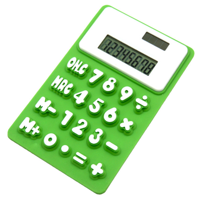 Promotional stationery gifts solar Power Pocket Scientific Silicone Mini Calculators