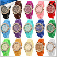 Free Shipping 2016 Women Watches Geneva Silicone fashion Geneva watch fashion silica gel jelly diamond quartz watch GW022
