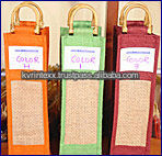 Jute reusable wine bottle bag