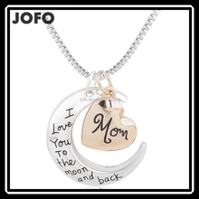 I Love You To The Moon And Back Silver Necklace Vintage Family Necklaces Pendants Fashion Women Jewelry Mother's Day Gift