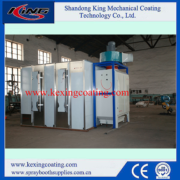 Stainless steel on-ground open powder coating spray booth walk-in design