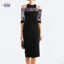 Elegant Style Design Ladies Print Cold Shoulder Black Dress